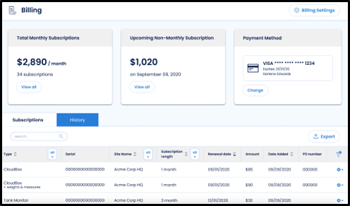 The Billing tab of the FuelCloud Web Portal with new summary sections