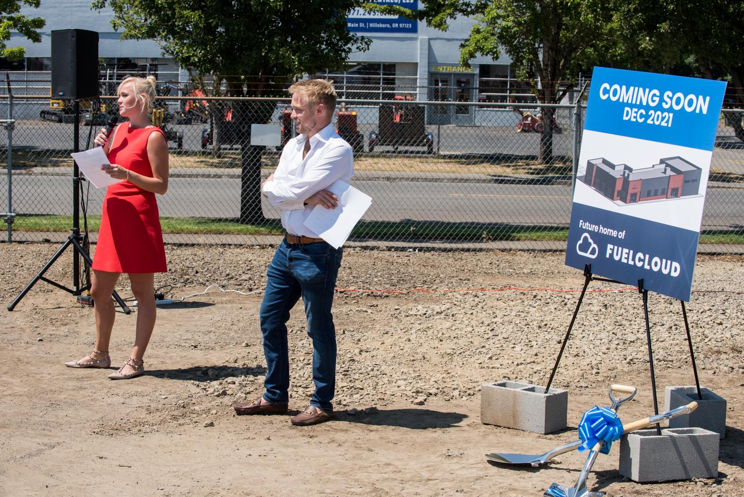 Kevin and Alex give speeches the groundbreaking ceremony