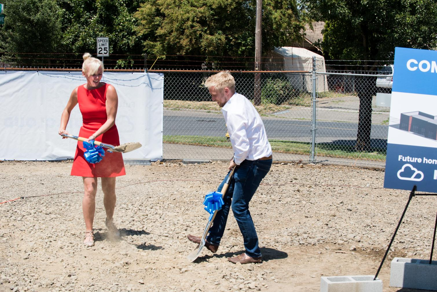 Kevin and Alex shoveling the first dirt to break ground on the FuelCloud headquarters