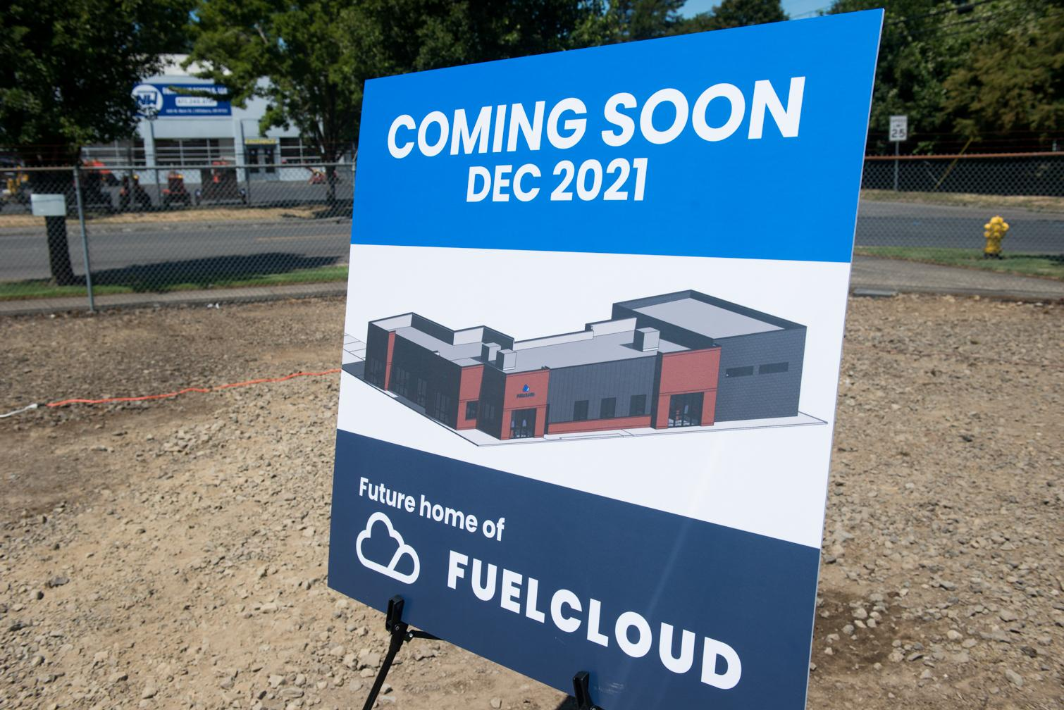 Poster showing what FuelCloud's office will look like.